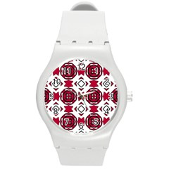 Seamless Abstract Pattern With Red Elements Background Round Plastic Sport Watch (m) by Simbadda