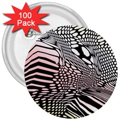 Abstract Fauna Pattern When Zebra And Giraffe Melt Together 3  Buttons (100 Pack)  by Simbadda