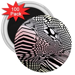Abstract Fauna Pattern When Zebra And Giraffe Melt Together 3  Magnets (100 Pack) by Simbadda