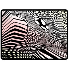 Abstract Fauna Pattern When Zebra And Giraffe Melt Together Double Sided Fleece Blanket (large)  by Simbadda