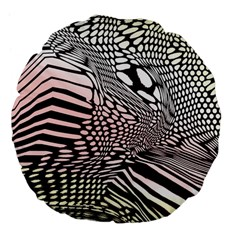 Abstract Fauna Pattern When Zebra And Giraffe Melt Together Large 18  Premium Flano Round Cushions by Simbadda
