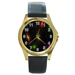 Star Lights Abstract Colourful Star Light Background Round Gold Metal Watch