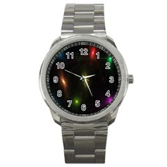 Star Lights Abstract Colourful Star Light Background Sport Metal Watch by Simbadda