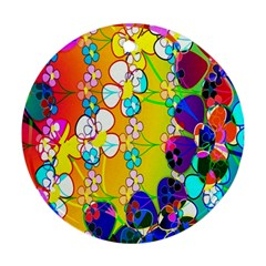 Abstract Flowers Design Round Ornament (two Sides) by Simbadda