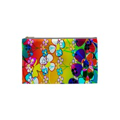 Abstract Flowers Design Cosmetic Bag (small)  by Simbadda
