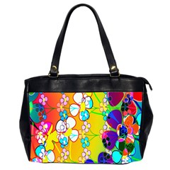 Abstract Flowers Design Office Handbags (2 Sides)  by Simbadda