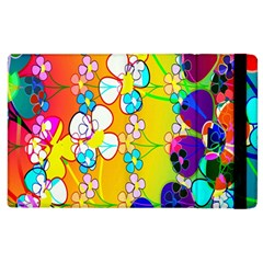 Abstract Flowers Design Apple Ipad 3/4 Flip Case by Simbadda