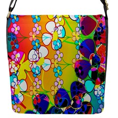 Abstract Flowers Design Flap Messenger Bag (s) by Simbadda