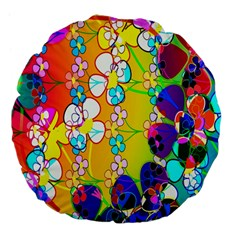 Abstract Flowers Design Large 18  Premium Flano Round Cushions by Simbadda