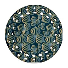 Gradient Flowers Abstract Background Ornament (round Filigree) by Simbadda