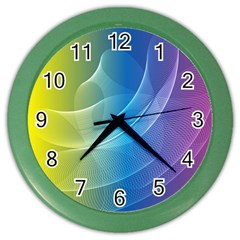 Colorful Guilloche Spiral Pattern Background Color Wall Clocks by Simbadda