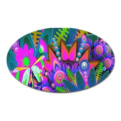 Wild Abstract Design Oval Magnet by Simbadda
