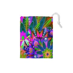Wild Abstract Design Drawstring Pouches (small)  by Simbadda