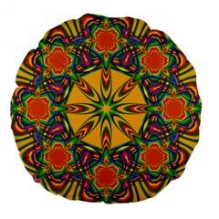 Seamless Orange Abstract Wallpaper Pattern Tile Background Large 18  Premium Flano Round Cushions by Simbadda