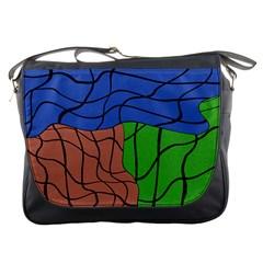 Abstract Art Mixed Colors Messenger Bags by Simbadda