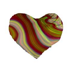 Artificial Colorful Lava Background Standard 16  Premium Flano Heart Shape Cushions by Simbadda