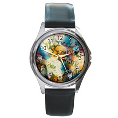 Abstract Color Splash Background Colorful Wallpaper Round Metal Watch by Simbadda