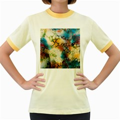 Abstract Color Splash Background Colorful Wallpaper Women s Fitted Ringer T Shirts by Simbadda