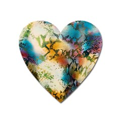 Abstract Color Splash Background Colorful Wallpaper Heart Magnet by Simbadda