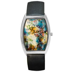 Abstract Color Splash Background Colorful Wallpaper Barrel Style Metal Watch by Simbadda