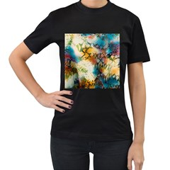 Abstract Color Splash Background Colorful Wallpaper Women s T Shirt (black) (two Sided) by Simbadda