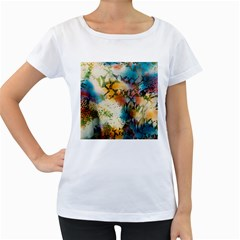 Abstract Color Splash Background Colorful Wallpaper Women s Loose Fit T Shirt (white) by Simbadda