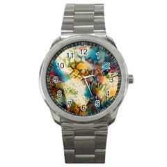 Abstract Color Splash Background Colorful Wallpaper Sport Metal Watch by Simbadda