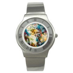 Abstract Color Splash Background Colorful Wallpaper Stainless Steel Watch by Simbadda