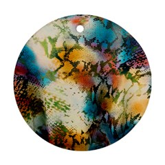 Abstract Color Splash Background Colorful Wallpaper Round Ornament (two Sides) by Simbadda