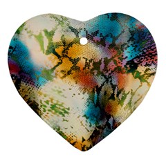 Abstract Color Splash Background Colorful Wallpaper Heart Ornament (two Sides) by Simbadda