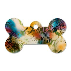 Abstract Color Splash Background Colorful Wallpaper Dog Tag Bone (two Sides) by Simbadda