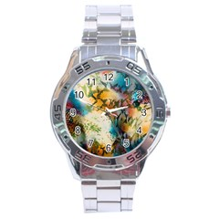 Abstract Color Splash Background Colorful Wallpaper Stainless Steel Analogue Watch by Simbadda