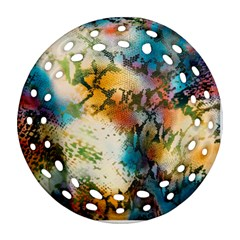 Abstract Color Splash Background Colorful Wallpaper Ornament (round Filigree) by Simbadda