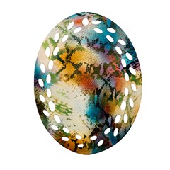 Abstract Color Splash Background Colorful Wallpaper Oval Filigree Ornament (two Sides) by Simbadda