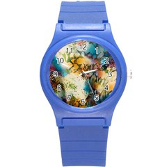 Abstract Color Splash Background Colorful Wallpaper Round Plastic Sport Watch (s) by Simbadda