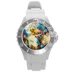 Abstract Color Splash Background Colorful Wallpaper Round Plastic Sport Watch (l) by Simbadda