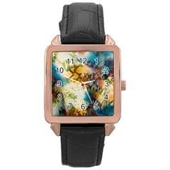 Abstract Color Splash Background Colorful Wallpaper Rose Gold Leather Watch  by Simbadda