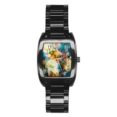 Abstract Color Splash Background Colorful Wallpaper Stainless Steel Barrel Watch by Simbadda