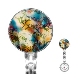 Abstract Color Splash Background Colorful Wallpaper Stainless Steel Nurses Watch by Simbadda