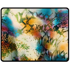 Abstract Color Splash Background Colorful Wallpaper Double Sided Fleece Blanket (medium)  by Simbadda
