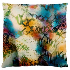 Abstract Color Splash Background Colorful Wallpaper Large Flano Cushion Case (one Side) by Simbadda