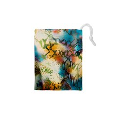 Abstract Color Splash Background Colorful Wallpaper Drawstring Pouches (xs)  by Simbadda