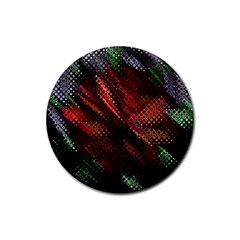 Abstract Green And Red Background Rubber Round Coaster (4 Pack)  by Simbadda