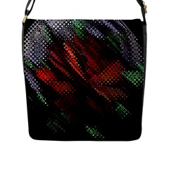Abstract Green And Red Background Flap Messenger Bag (l)  by Simbadda