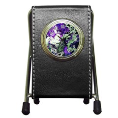 Background Abstract With Green And Purple Hues Pen Holder Desk Clocks by Simbadda