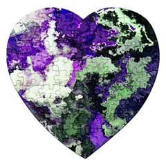 Background Abstract With Green And Purple Hues Jigsaw Puzzle (heart) by Simbadda