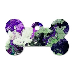 Background Abstract With Green And Purple Hues Dog Tag Bone (two Sides) by Simbadda