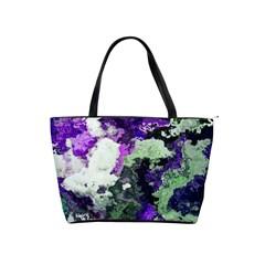 Background Abstract With Green And Purple Hues Shoulder Handbags by Simbadda
