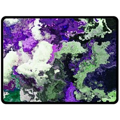 Background Abstract With Green And Purple Hues Fleece Blanket (large)  by Simbadda