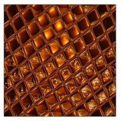 Caramel Honeycomb An Abstract Image Large Satin Scarf (square) by Simbadda
